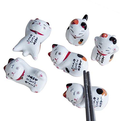 iBaste 5Pcs Bacchette Cinesi Titolare Gatto Fortunato Pattern Titolare Bacchette Decorazione in Ceramica Domestica