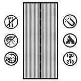 Fliegengitter Tür, Vegena Magnet Fliegengitter Balkontür 100x210 Magnetischer Fliegenvorhang Moskitonetz Automatisches Schließen Insektenschutz für Wohnzimmer Terrassentür