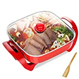 Wok Multi-Function Elettrica Elettrica Domestica Padella Barbecue Hot Pot Integrato Cooker Pot Elettrico,Pentola Calda, Fornello Multifunzione Per Uso Domestico, Tagliatella In Stile Coreano,Red