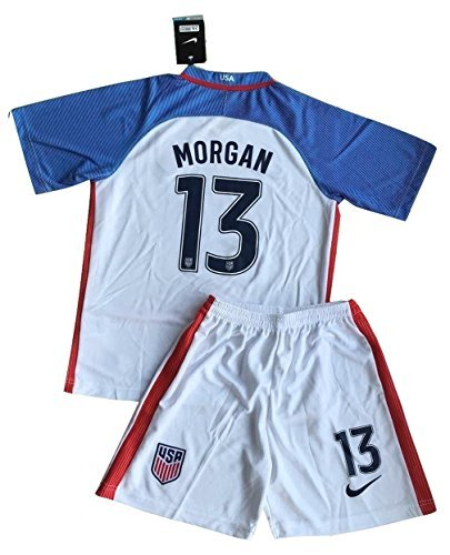 NEW 2016-2017 Alex Morgan #13 USA National Home Jersey with Shorts for Kids/Youth (7-8 Years Old) by VNI