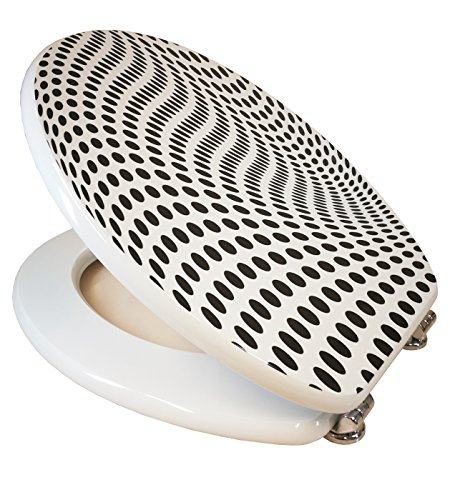 Design Toilettensitz / Toilettendeckel / WC Sitz / Hochwertige Qualität in der Farbe Weiß & Schwarz / Gepunktet Muster