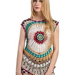 Baijiaye Mujer Blusa Tops Indirecto Tejido De Punto Ahuecar Elegante Camiseta Big Plum Floral Tejer Suéter Morado