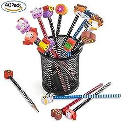 Comius Conjunto de lápiz de dibujos animados, 40 piezas de lápiz de madera con lápices de color grafito de goma con borradores, material escolar Regalo de los niños