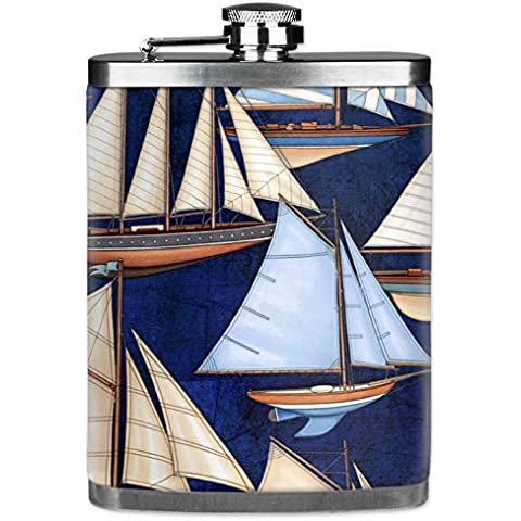 Mugzie brand 7 Oz Hip Flask with Insulated Wetsuit Cover - Sail Boats by Mugzie