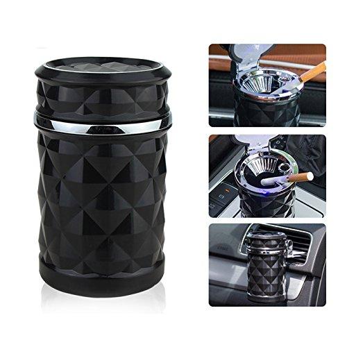 Q92 TOP! Luxus LED KFZ Autoaschenbecher Aschenbecher mit 2 Windschnallen, Inklusive Deckel, Abmessungen in mm: 70 x 70 x 112, Gewicht: 195g, Farbe Schwarz