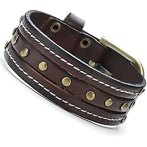Impressive Chocolate Fever Brown Mens Leather Cuff Studs Bracelet by R&B Jewelry