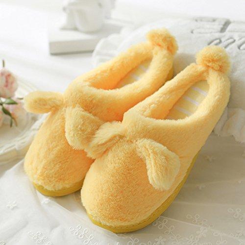 DogHaccd pantofole,Pantofole di cotone femmina spessa coperta, antiscivolo inverno incantevole soggiorno di casa con un pacchetto di caldo con eleganti pantofole Oro2