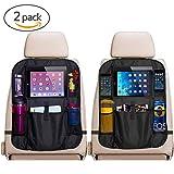CMYK Premium Rückenlehnenschutz (2 Stück), Große Taschen und iPad-/Tablet-Fach, Auto Rücksitz-Organizer für Kinder, Autositz-Schoner wasserdicht, Kick-Matten-Schutz in universeller Passform