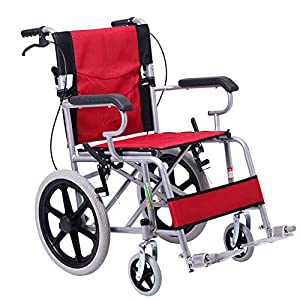 EMOGA Lightweight Transport Adult Folding Wheelchair With 4 Brake,11Kg Portable,40Cm Seat,With Storage Bags
