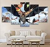 BOYH 5 pièces Impressions sur Toile Comment Dresser Votre Dragon Posters Haute définition Wall Art Moderne Impression Salon décorations pour la Maison,B,30×50×2+30×70×2+30×80×1