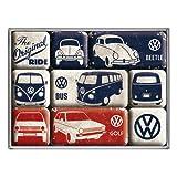 Nostalgic-Art 83075 Volkswagen - VW Bulli, Beetle & Golf - The Original Ride, Magnet-Set (9teilig)