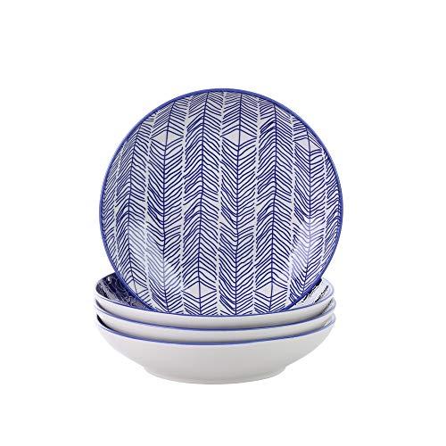 vancasso, série TAKAKI 4pcs Assiettes Creuse Porcelaine Ronde 21.5 * 21.5 * 4.5cm Saladier Assiette à Soupe Nouille Style Japonais Service de Table Vaisselles