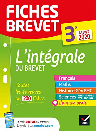 Fiches brevet L'intégrale du brevet 3e Brevet 2020: fiches de révision pour les 5 épreuves