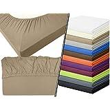 Jersey-Spannbetttuch in Top-Qualität - mit einer Steghöhe von ca. 35 cm - 100% Baumwolle - erhältlich in 6 verschiedenen Größen und 12 ausgesuchten Farben, 1 Stück - Jersey-Spannbetttuch ca. 140-160 x 200 cm, sand