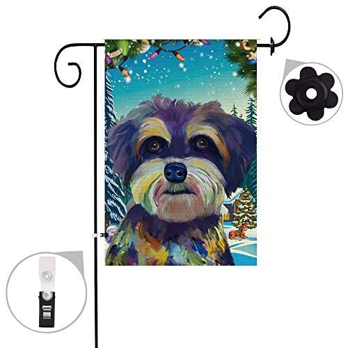 Pinata Schnauzer Hund Sackleine Gartenflaggen-Set, Wetterfest und doppelt genäht, doppelseitige Weihnachts-Tierfahnen mit Gummi-Stopper und Windschutz-Clip, 30,5 x 45,7 cm 12x18 Schnauzer 1