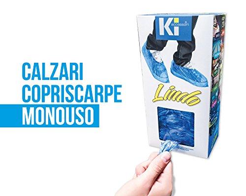 N.2 box 100 copriscarpe monouso lindo - con adesivo da parete o scrivania - copricalzature, (200 calzari)