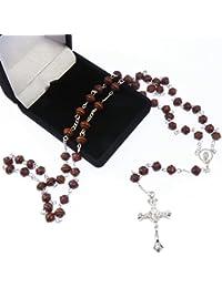 R Heaven - Brown rosario de madera tallada en una caja de regalo de terciopelo rebaño longitud de los 50cm