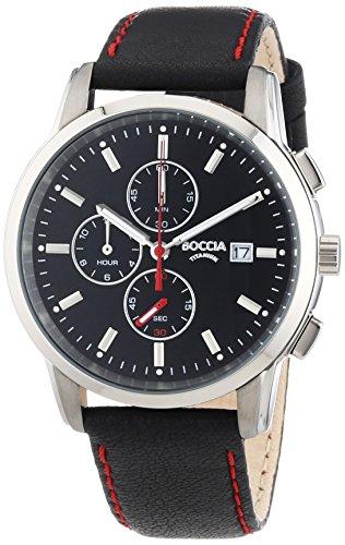 Boccia Reloj para hombre XL Piel 3763–01–Titanio Cronógrafo Cuarzo