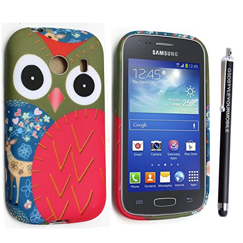 GSD STYLE YOUR MOBILE {TM} SAMSUNG GALAXY ACE STYLE SM-G310 GEL SILICONE SILIKON CASE SKIN GEL TPU Hülle COVER + STYLS (Owl Face With Deer)