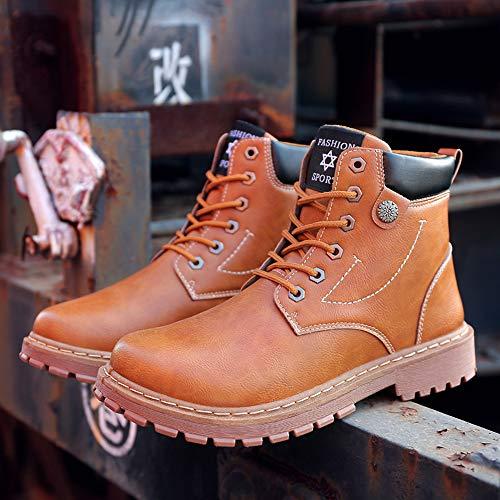 Shoe House Männer Oxford Stiefel Gummiboden Rutschfeste Kampf Arbeitsstiefel Winter Warm Gelb Größe 5.5-9.5,EU44/US10(M)/UK9.5