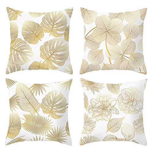 arnty federa per cuscino 45x45cm, federa copri cuscino decorativo caso stampa floreale divano letto home bed decor (foglie d'oro02, velluto)