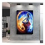 XIAOXINYUAN Hindu Religion Poster Wandkunst Leinwand Gott Leinwandbilder an der Wand Lord Shiva Portrait Bilder Home Decor 70X90Cm