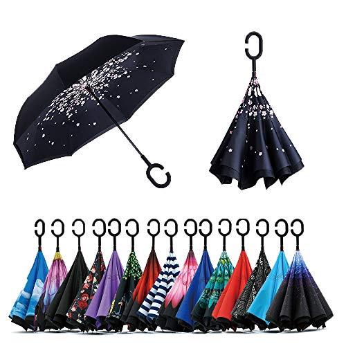 Jooayou Paraguas Invertido de Doble Capa,Paraguas Plegable de Manos Libres Autoportante,Paraguas a Prueba de Viento Anti-UV para la Lluvia del Coche al Aire Iibre (Cherry Flower)