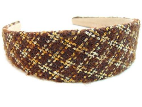 rougecaramel - accessoires cheveux - Serre tête/headband large laine matelassé - marron