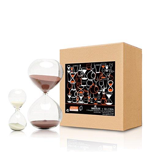 BILOBA Sand Timer/Sanduhr Set of 2 Für Time Management Glas, 30 (oder 60 Minuten) + 5 Minute Set, Cocoa/Creamy White, 5.6 Inch,60 Mins(+/-360S) 3.2 Inch,5 Mins(+/-30S)