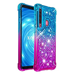KOUYI Galaxy A9 2018/A9S/A9 Star Pro Hülle, [Quicksand-Serie] Fließen Flüssig Glitzer Mode Silikon Weich Flexible TPU Bumper Schutzülle Etui Cover für Galaxy A9 2018/A9S/A9 Star Pro (Blau Lila)