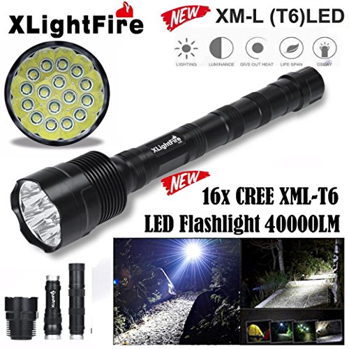 HCFKJ Xlightfire 40000 Lumen 16X Cree Xml T6 5 Mode 18650 Super Bright Led Taschenlampe