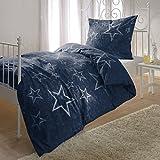 Bettwaren-Shop Biber Bettwäsche Sterne blau 155x200 cm + 80x80 cm