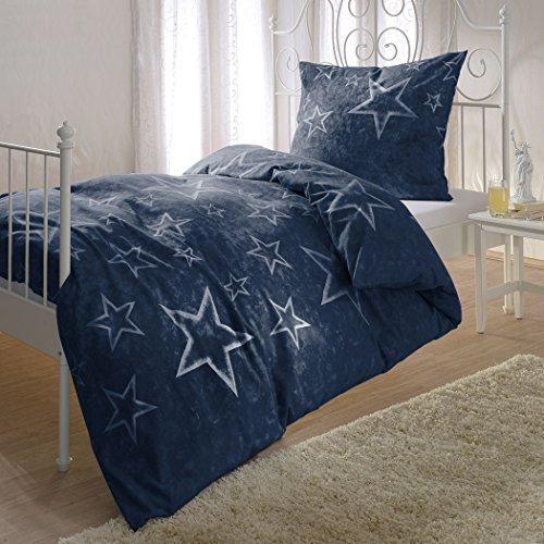 Bettwaren-Shop Biber Bettwäsche Sterne blau 135x200 cm + 80x80 cm