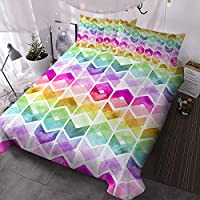 BlessLiving Watercolor Chevron Bedding Rainbow Colors Vintage Duvet Cover 3 Pieces Geometric Hipster Bedding for Fashion Girls and Women (Single)