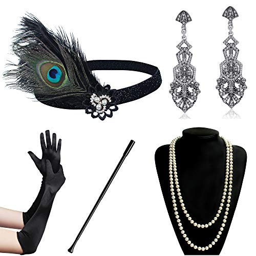 ArtiDeco 1920s Flapper Set Damen Gatsby Kostüm Accessoires Set Inklusive Stirnband Halskette Handschuhe Ohrringe Zigarettenhalter (Set-1) (Set-15)