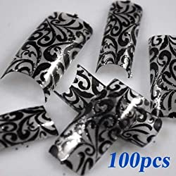 100 Charming Clear Black Floral Design French Acrylic False Nail Art Tips NEW by 350buy