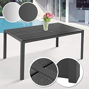 MIADOMODO Gartentisch 150 x 90 cm - aus Stahl und Kunststoff, für bis zu 6 Personen, Witterungs- und UV-beständig, in Grau - Metall Tisch Garten Balkon Esstisch Sitzgarnitur Gartenmöbel (Dunkelgrau)