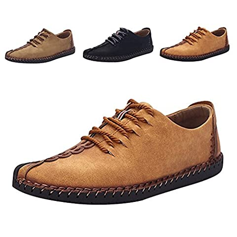 Men's British Style Suede Casual Shoes Handmade Classic Genuine Leather Oxford Flats Shoes Casual Shoes Lace-up Loafers Flats Sneakers (EU 41, Gelb)