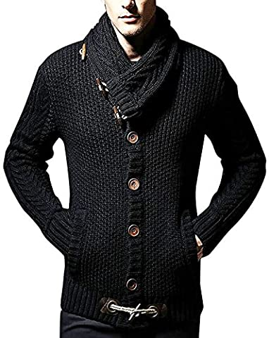 Minetom Herren Lang Geschnittene Schlichte Strickjacke Cardigan Beiläufige Knit Mantel Offene Basic Jacke Sweatshirt Sweatblazer Hoody Schwarz 02 DE 50