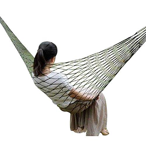 Lmeno amaca nylon mesh 270 * 80cm d'attaccatura esterna altalena giardino con 2 legatura delle corde libero per esercito, campeggio, viaggio, sopravvivenza, relax --army green
