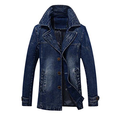 YuanDian Herren Frühling Herbst Casual Slim Fit Midi Lange Jean Jacken Knopf Geschlossen Denim Jeansjacke Trenchcoat Mantel Blau 4XL Denim Trenchcoat
