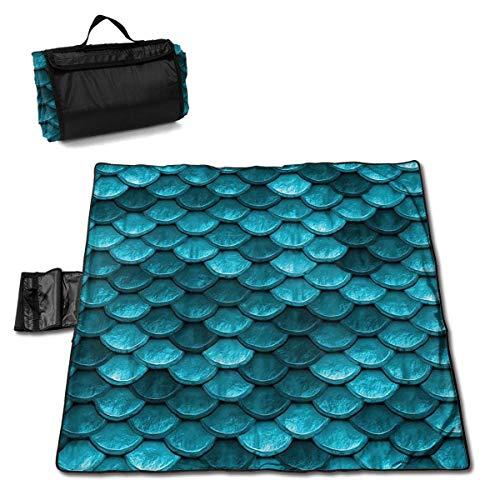 MZZhuBao Beautiful Bahama Blue Mermaid Fish Scales Folding Portable Picnic Blanket 57