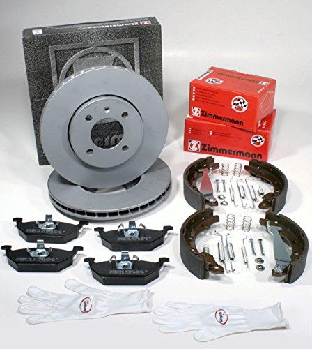 Autoparts-Online Set 60012409 Zimmermann Bremsscheiben PR-Nr. 1LA Coat Z/Bremsen + Bremsbeläge Vorne + Bremsbacken + Zubehör für Hinten