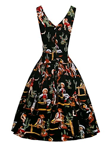 iLover 40s 50s 60s Rockabilly Solid Dress Vintage Pin-up Cocktail Soirée Balançoire noir3