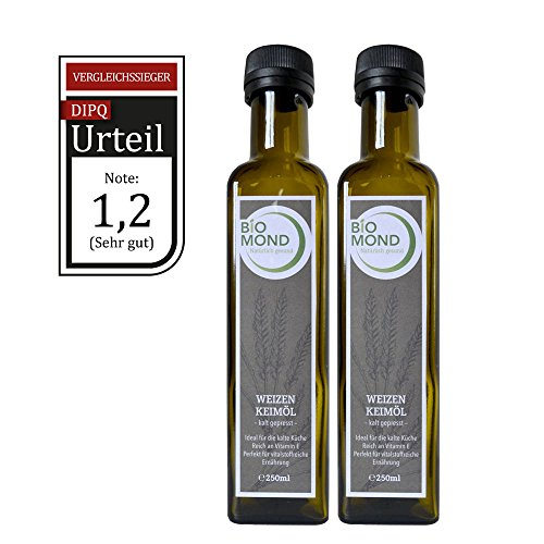 Weizenkeimöl von BIOMOND / 2 x 250 ml Vorteilspack / Testsieger DIPQ / hochwertiges Gourmetöl / kalt gepresst