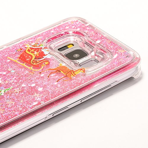 iPhone 7 4.7 inches custodia KSHOP plastica PC hard cover, sabbie mobili liquido con Natale design a tema, Bling bling Sottile Anti-graffio Resistente Cover iPhone 7 4.7 inches - Argento, Sequins Star pink