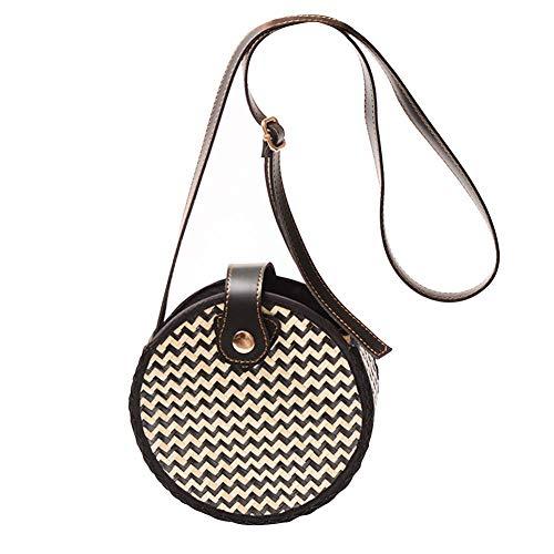 Runde Rattantasche aushöhlen gewebt handgefertigte Einkaufskörbe Stroh Ausschnitt Markt Korbgeflecht Wicker Strap Crossbody modische Bow Vintage Taschen mit PU-Lederband Snap -
