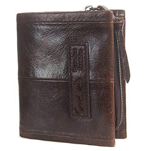Tri-fold Clutch (XIAOFENG-R Herren Brieftasche Leder Tri-Fold Clutch Crazy Horse Leder Aktivität Reißverschluss Geldbörse Herren Business Taschen (Color : Brown, Size : S))