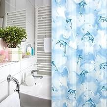 Textil para cortina de baño blanco azul delfines 240x200 cm incl. anillos de calidad 240 x 200 cm cortina de baño azul