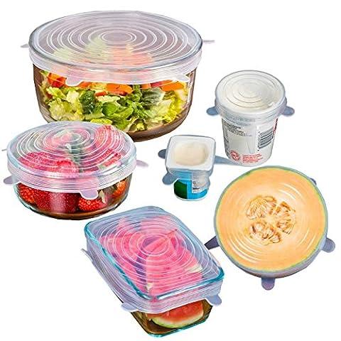 bwsm Couvercle de boîte de conservation en silicone, set de couverture en silicone, extensible & Réutilisable, pour casseroles, Bols, Réservoir toutes les formes, froid et de la chaleur